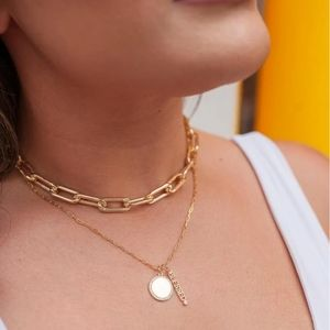 18k Gold Filled Thick Rectangle Chain Choker